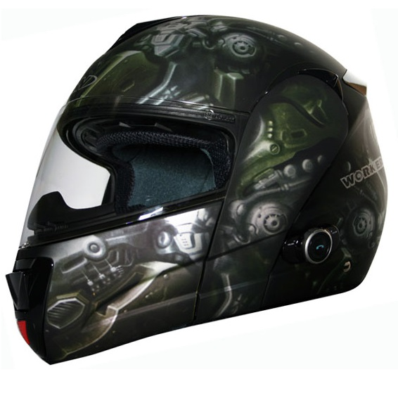 Moto přilba WORKER V210 Bluetooth + Interkom LEH-crazy skull - XS (54)