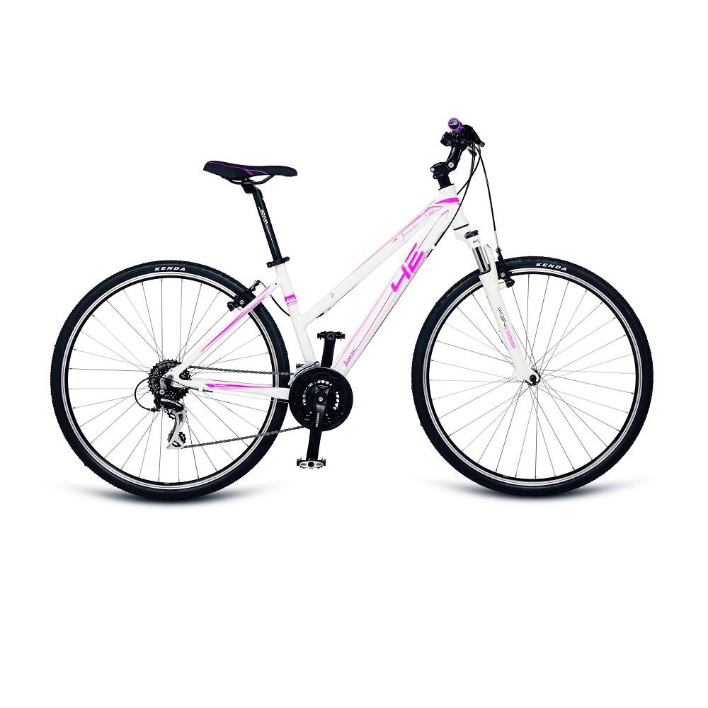 "Dámské crossové kolo 4EVER Jasmine 28"" - model 2017 bílo-růžová - 16,5"""