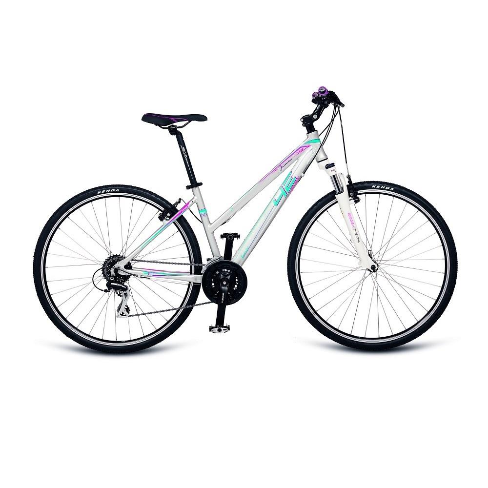 "Dámské crossové kolo 4EVER Jasmine 28"" - model 2017 stříbrno-modrá - 16,5"""