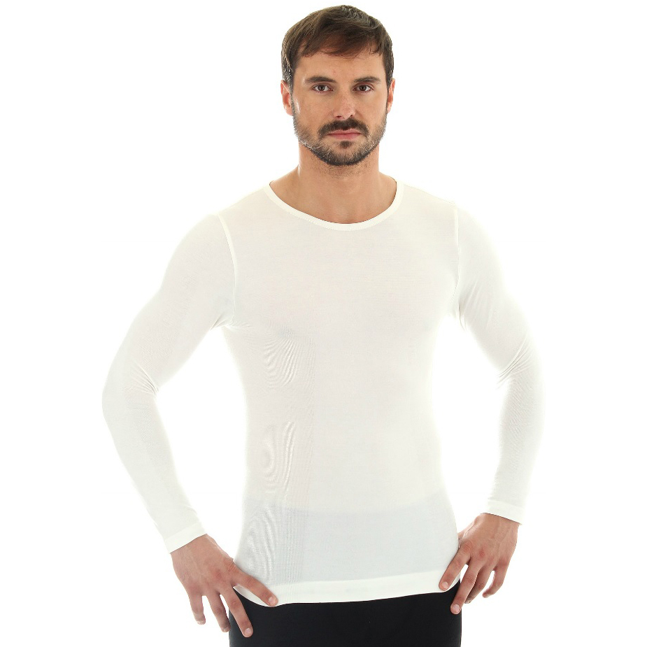 Pánské tričko Brubeck - vlna dlouhý rukáv krémově bílá - XXL