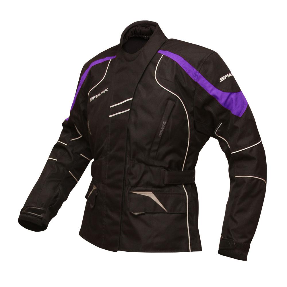 Dámská moto bunda Spark Lady Berry černo-fialová - S