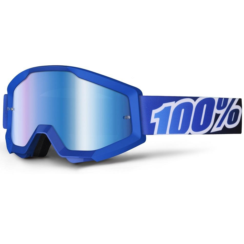 Motokrosové brýle 100% Strata Lagoon modrá, modré chrom plexi s čepy pro slídy