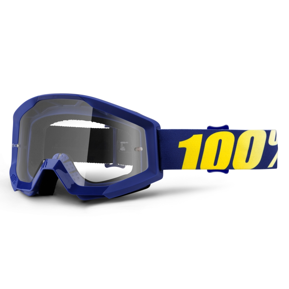 Motokrosové brýle 100% Strata Hope modrá, čiré plexi s čepy pro slídy