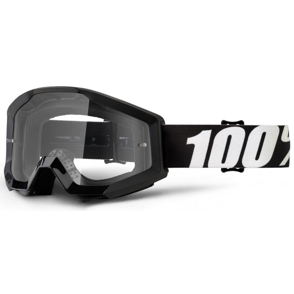 Motokrosové brýle 100% Strata Outlaw černá, čiré plexi s čepy pro slídy