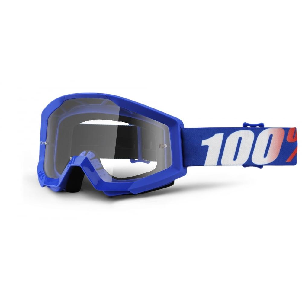 Motokrosové brýle 100% Strata Nation modrá, čiré plexi s čepy pro slídy