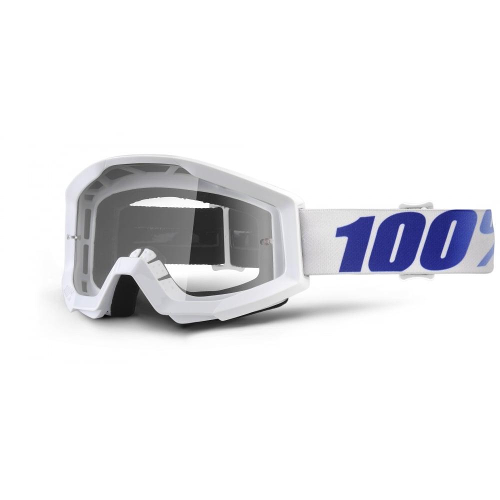Motokrosové brýle 100% Strata Equinox bílá, čiré plexi s čepy pro slídy