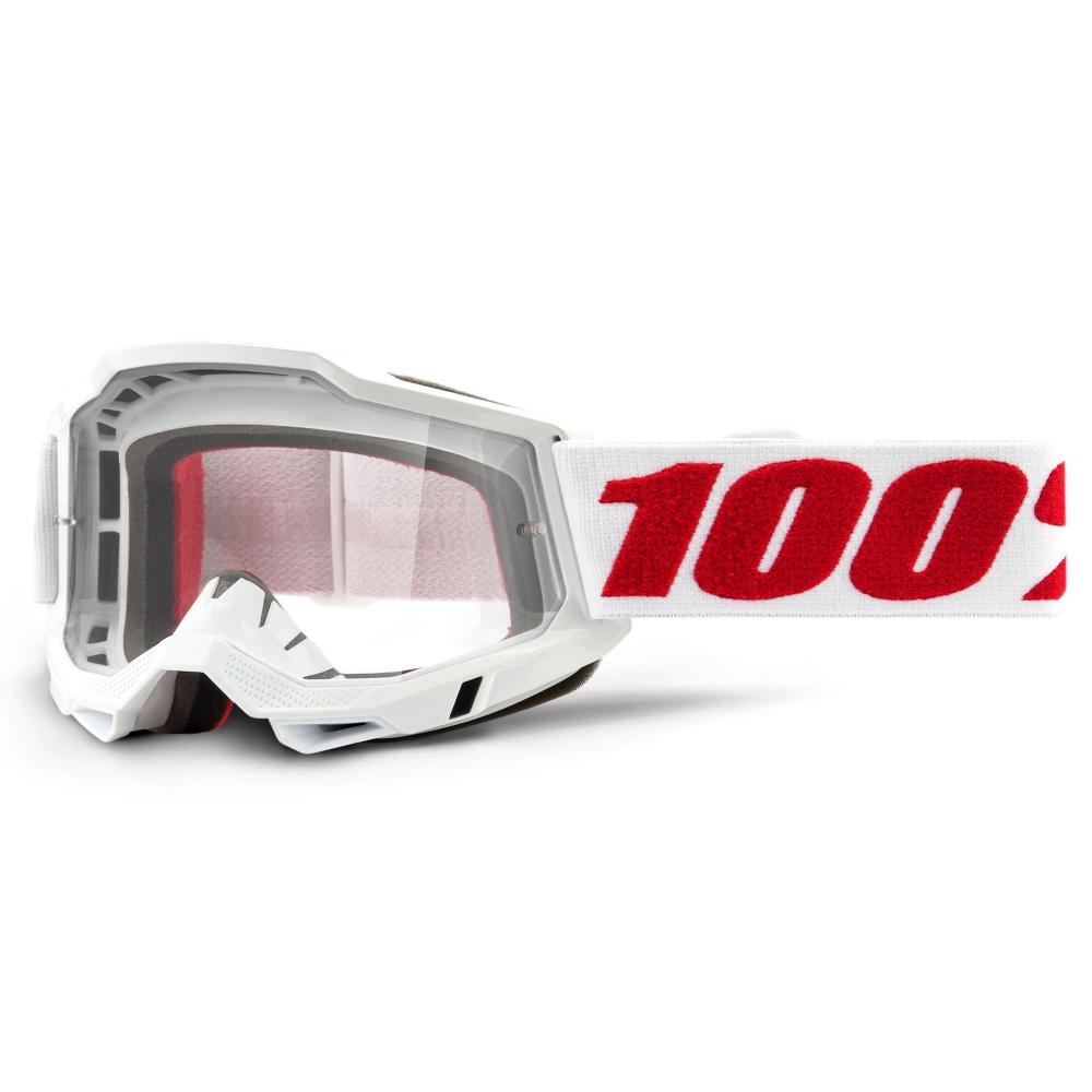Motokrosové brýle 100% Accuri 2 Denver bílo-červená, čiré plexi
