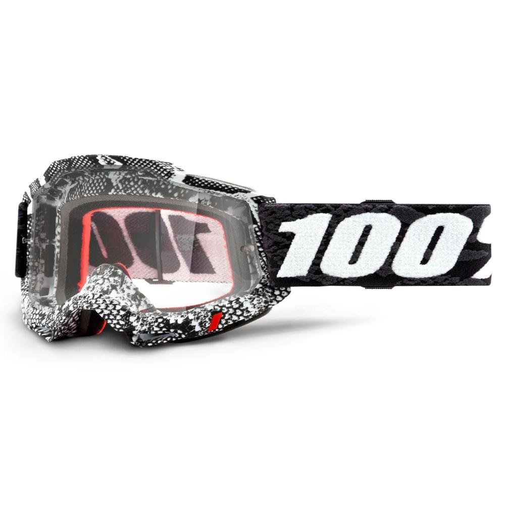 Motokrosové brýle 100% Accuri 2 Cobra černo-bílá, čiré plexi
