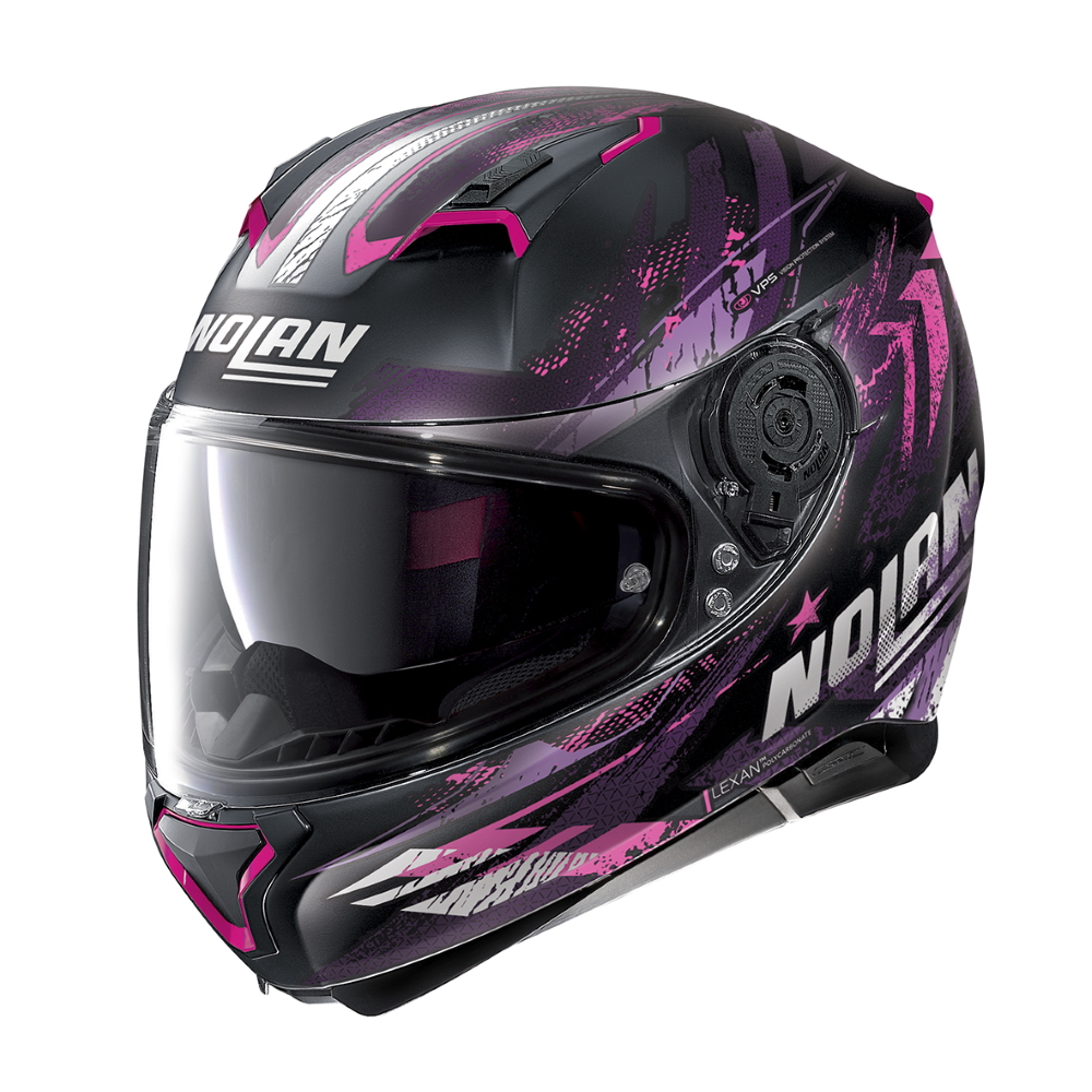 Moto helma Nolan N87 Carnival N-Com Flat Black-Purple - XXS (51-52) - Záruka 5 let