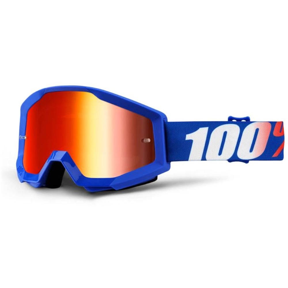 Motokrosové brýle 100% Strata Nation modrá, červené chrom plexi s čepy pro slídy