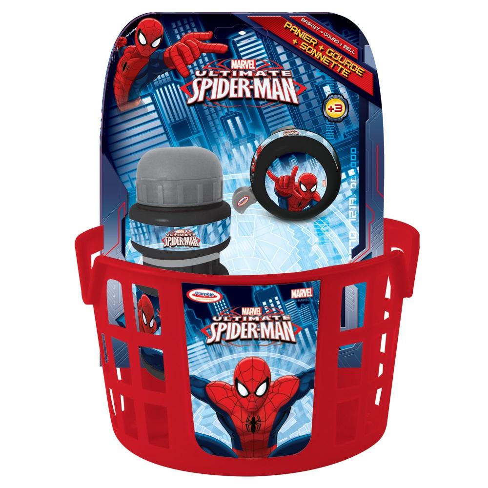 Cyklistická sada Spiderman (košík, zvonek, láhev)
