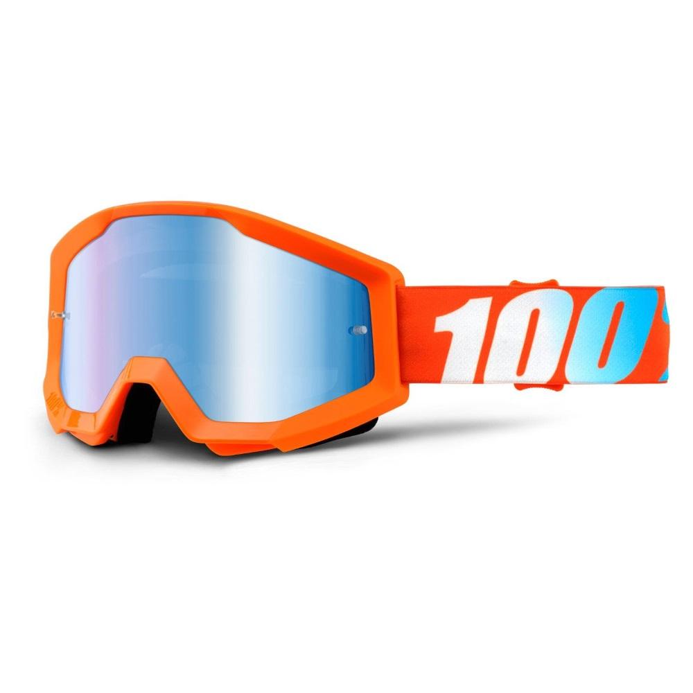 Motokrosové brýle 100% Strata Orange oranžová, modré chrom plexi s čepy pro slídy