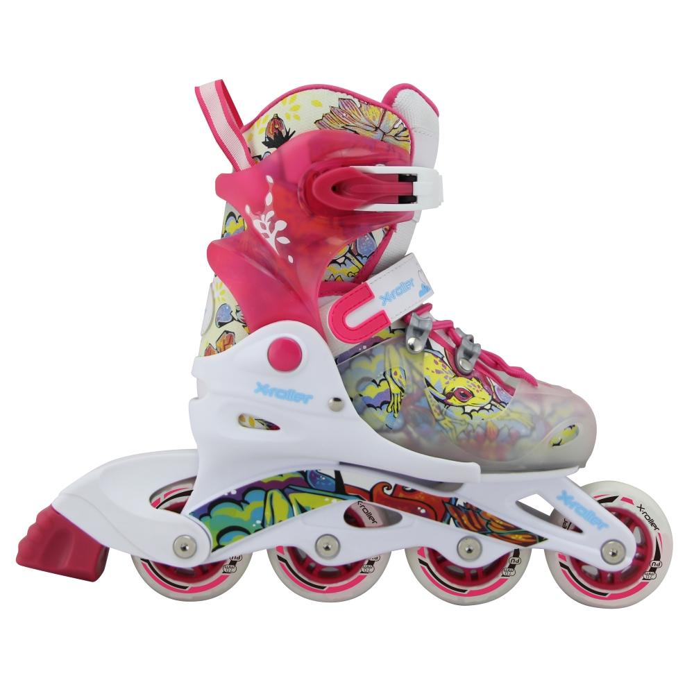 Dětské kolečkové brusle X-Roller PW-116 bílo-růžová - XS (26-29)