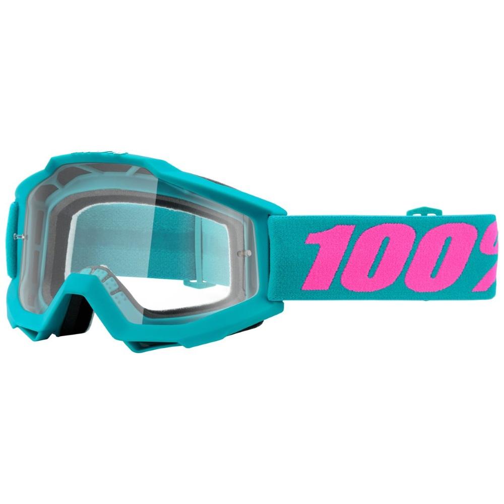 Motokrosové brýle 100% Accuri Passion zelená, čiré plexi s čepy pro slídy