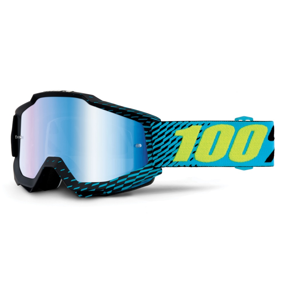 Motokrosové brýle 100% Accuri R-Core černá, modré chrom + čiré plexi s čepy pro slídy