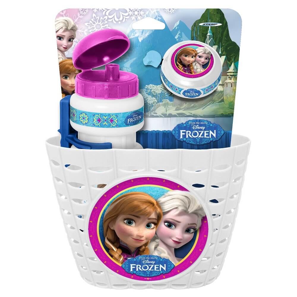Cyklistická sada Frozen (košík, láhev, zvonek) - bílá