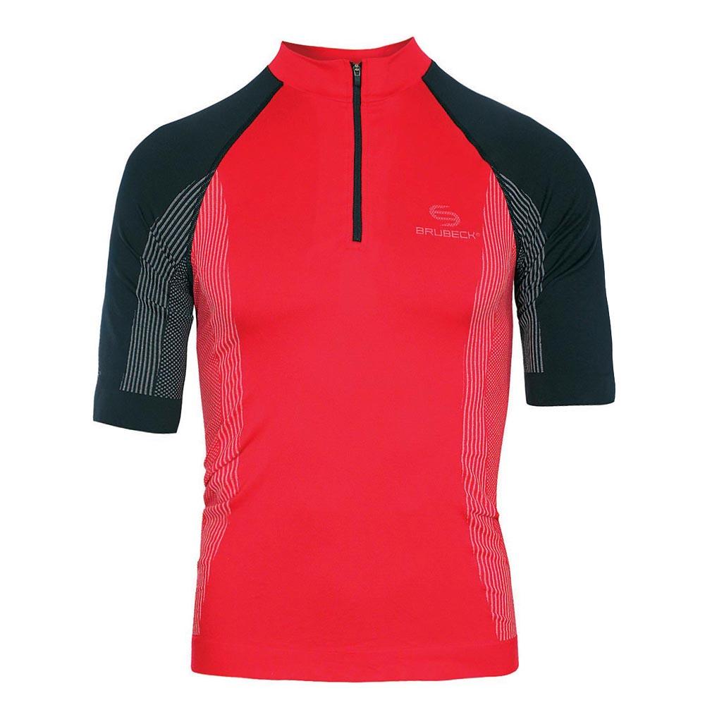 Pánské termo tričko Brubeck FIT s krátkým rukávem červeno-černá - S