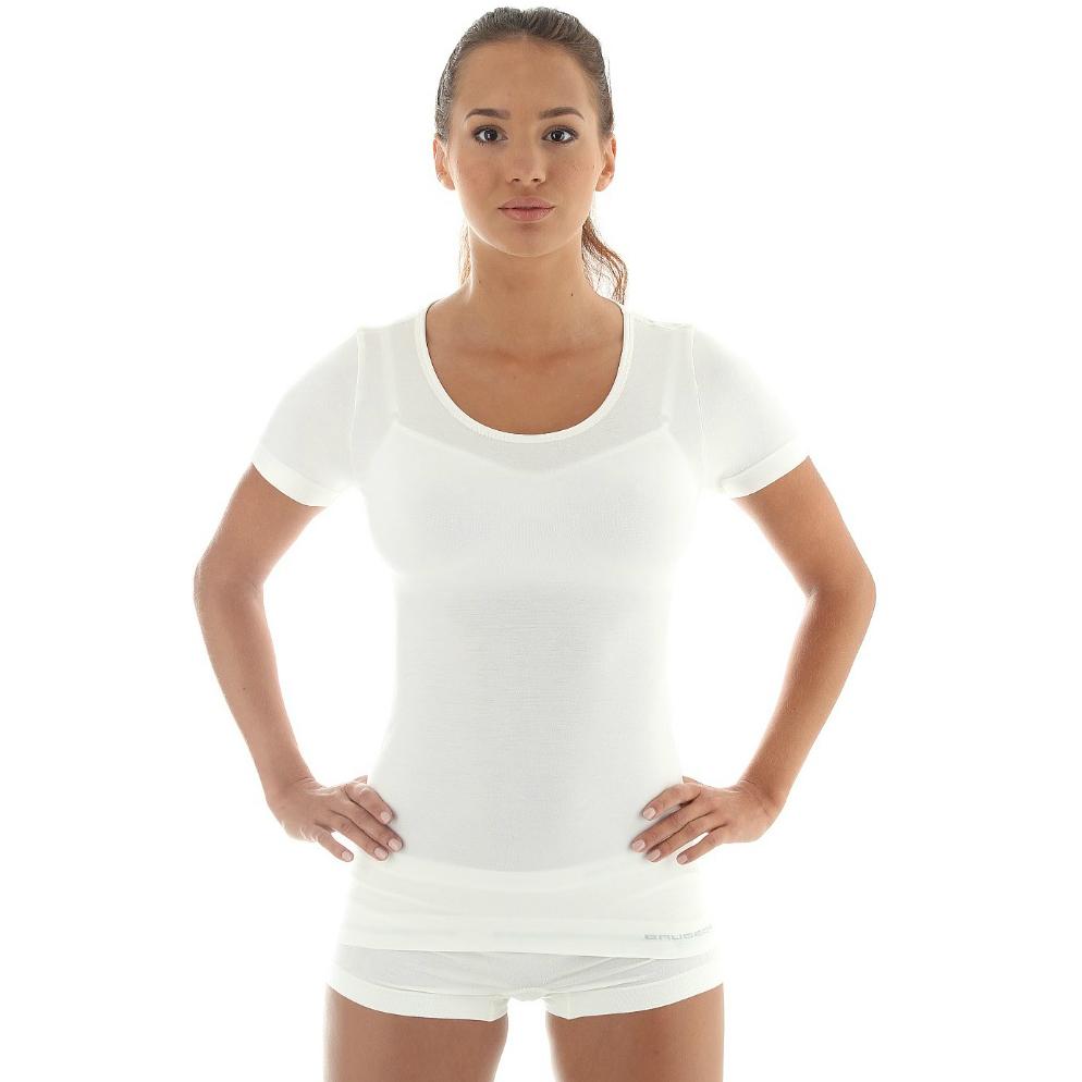 Dámské tričko Brubeck - vlna krátký rukáv - krémově bílá c73e3345ac