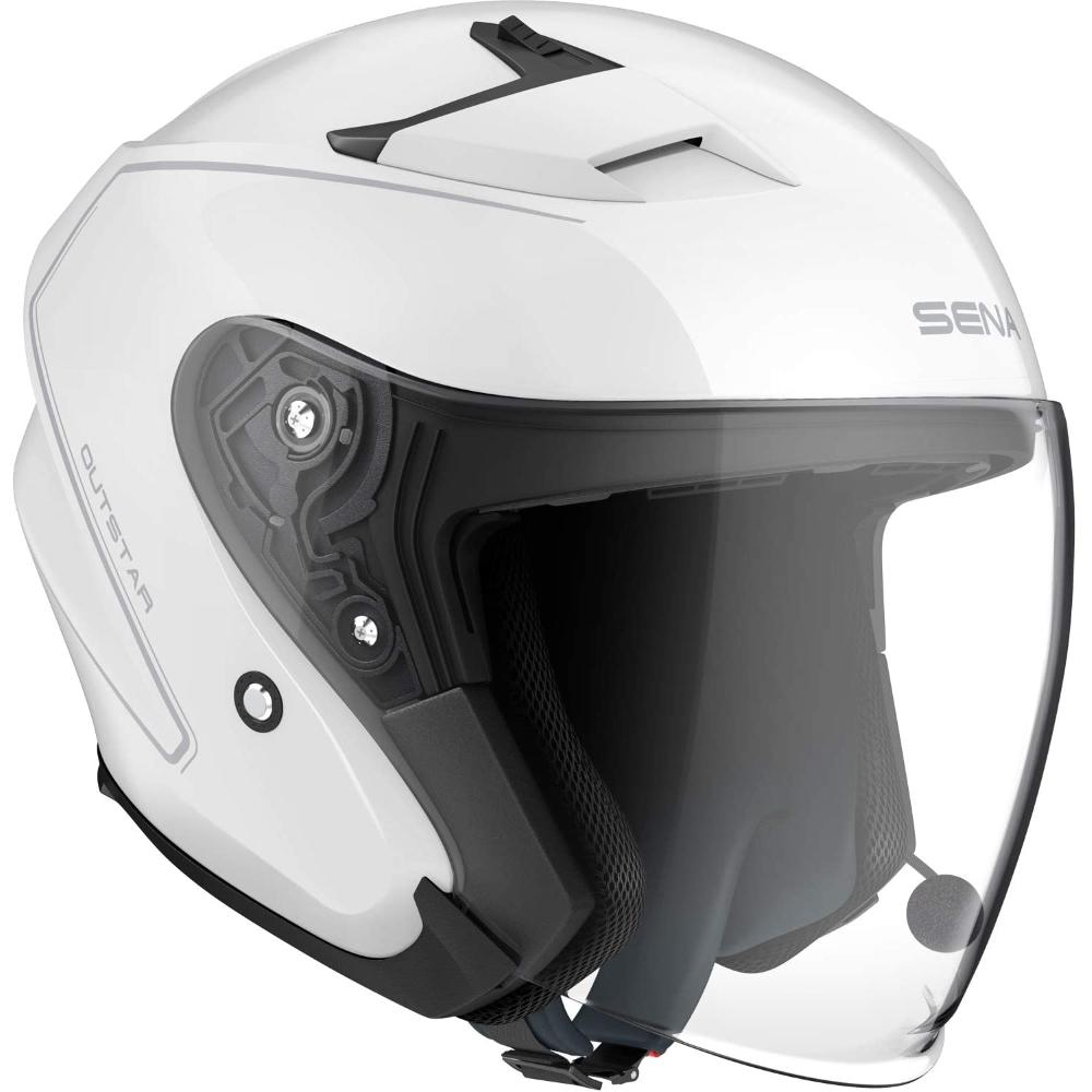 Moto přilba SENA Outstar s integrovaným headsetem bílá lesk - M (57-58)