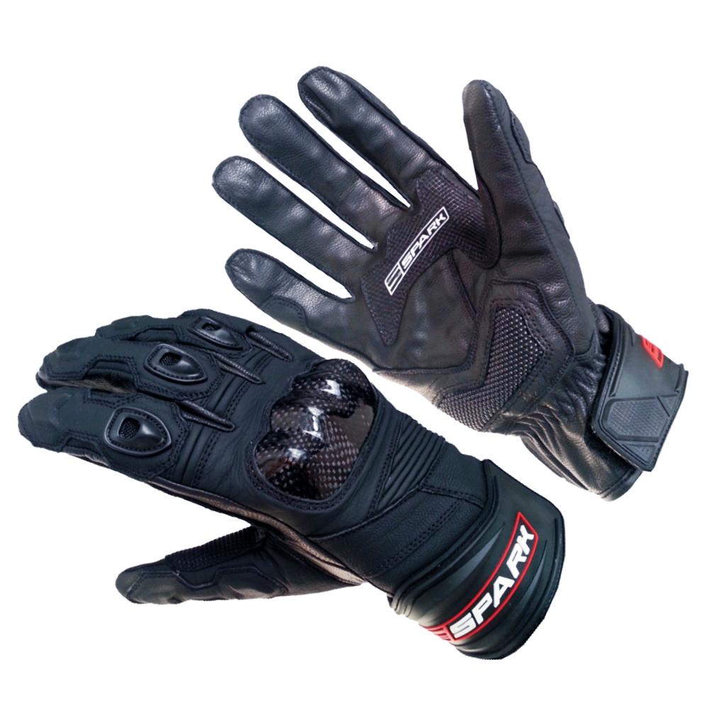 Kožené moto rukavice Spark Short černá - M