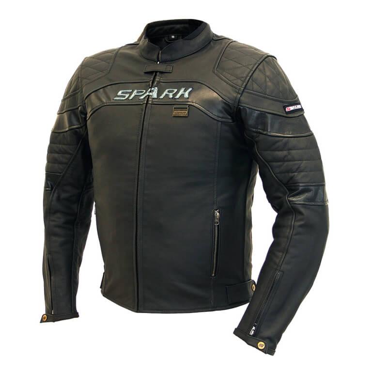 Pánská kožená moto bunda SPARK Dark černá - 3XL