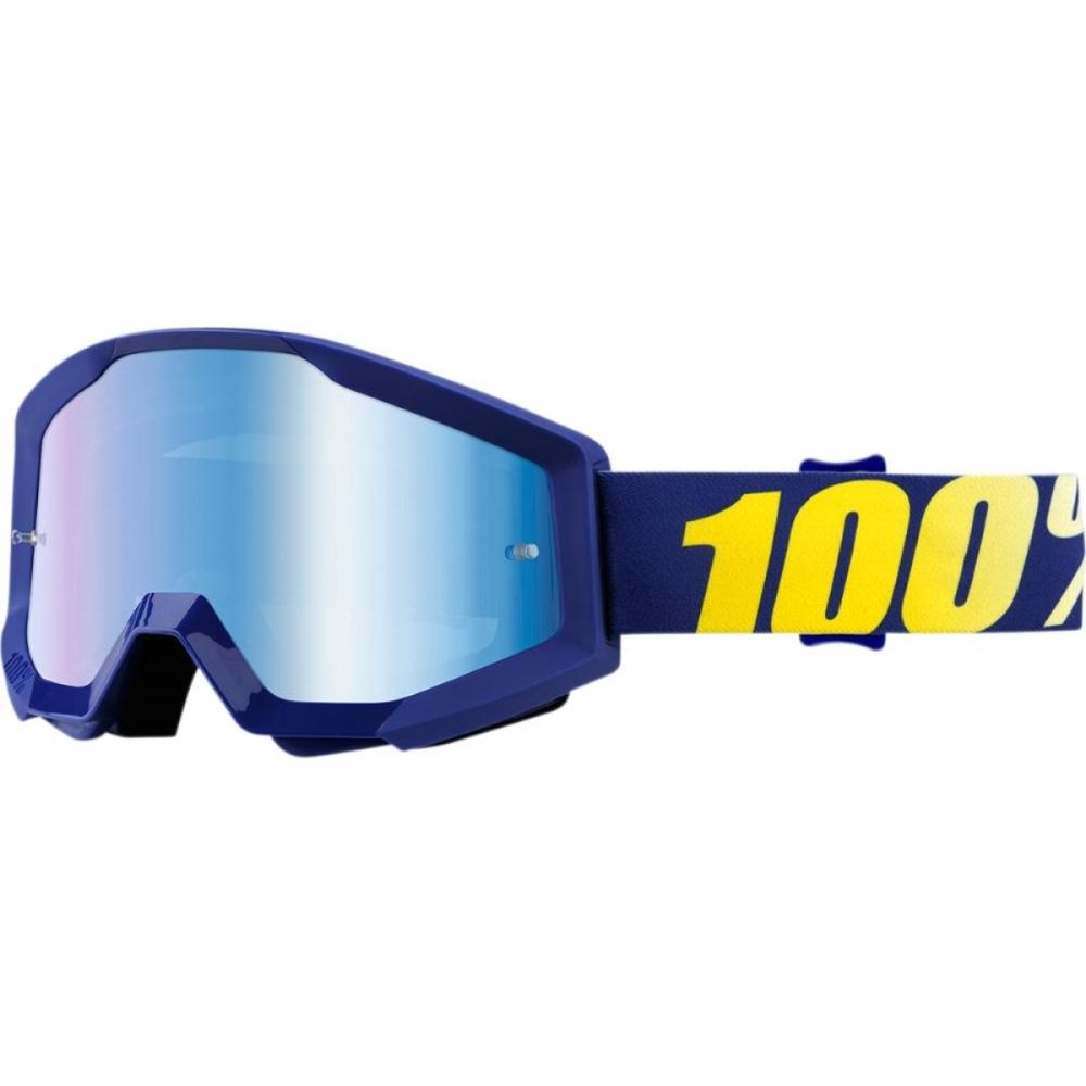 Motokrosové brýle 100% Strata Chrome Hope modrá, modré chrom plexi s čepy pro slídy