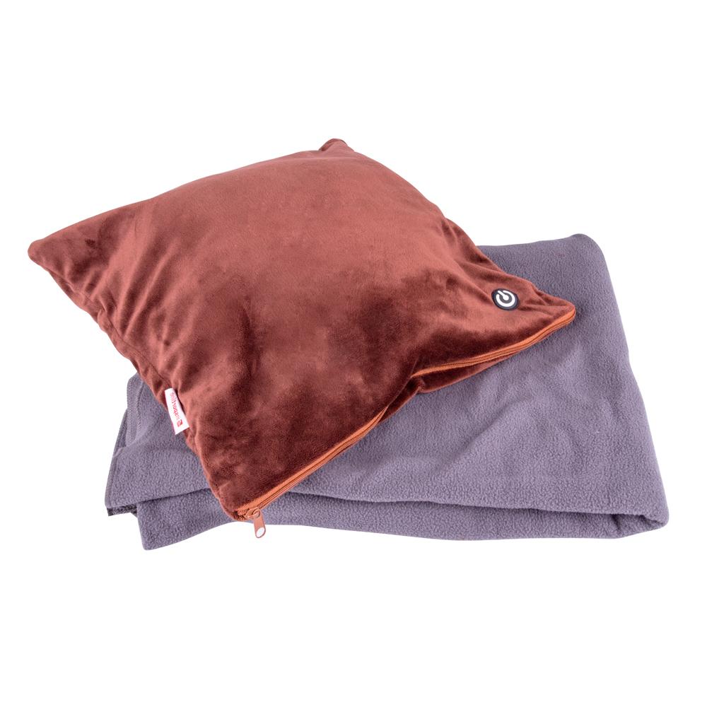 Masážní polštář a deka inSPORTline Trawel tmavě hnědá