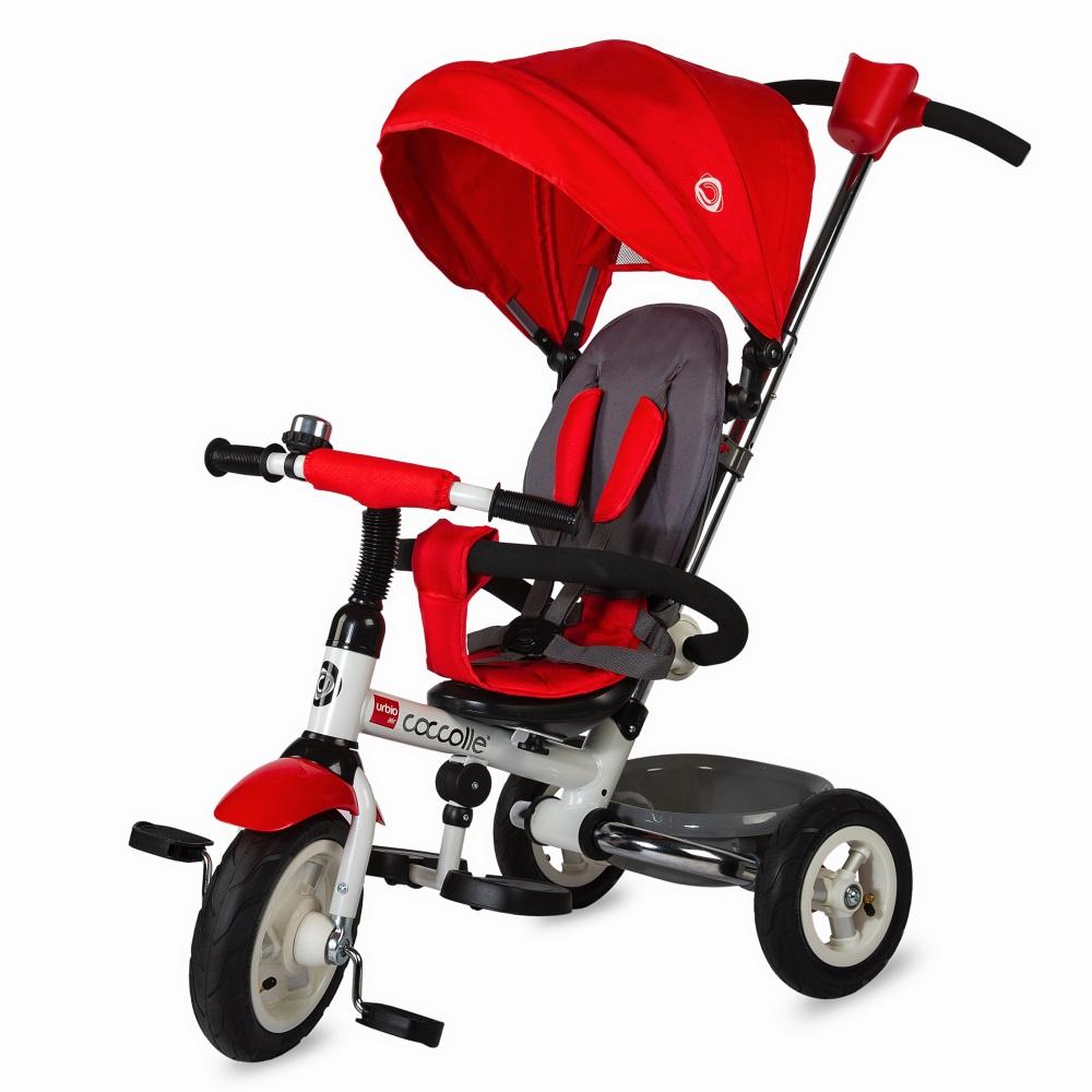 Dětská tříkolka s vodící tyčí Coccolle Urbio Air červená