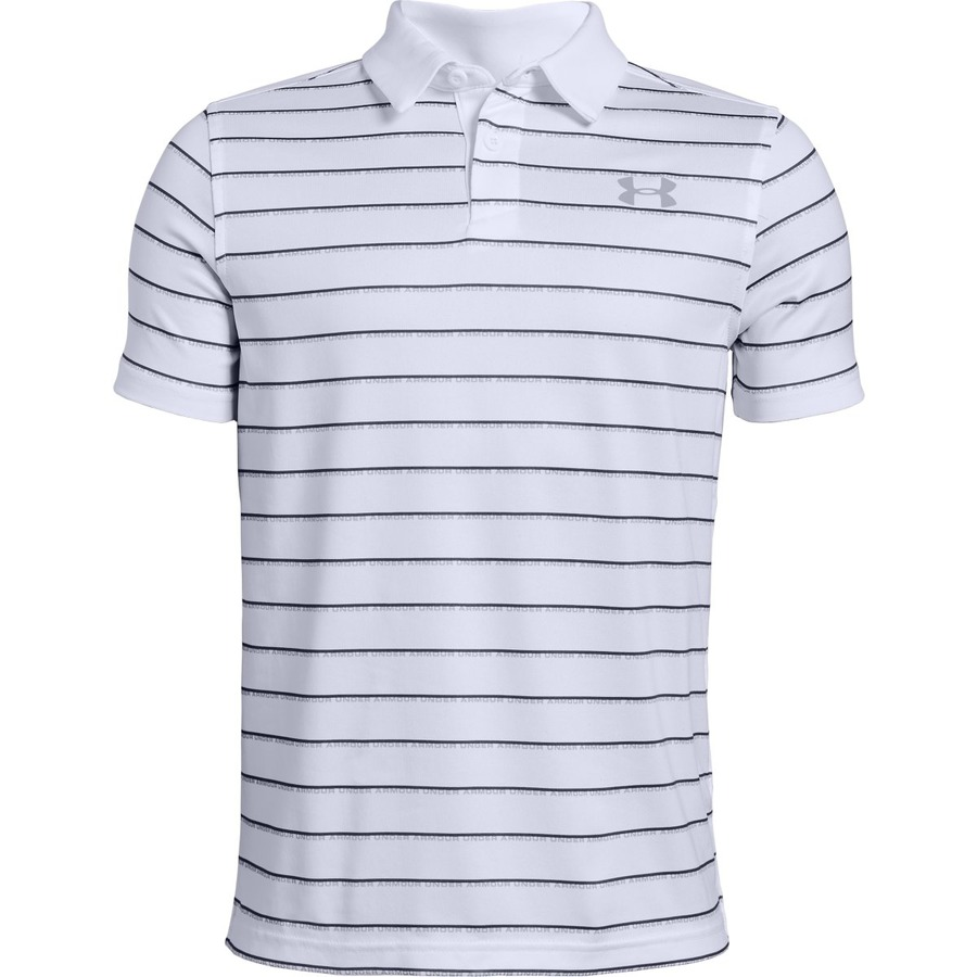 Under Armour Tour Tips Stripe Polo White - YXL