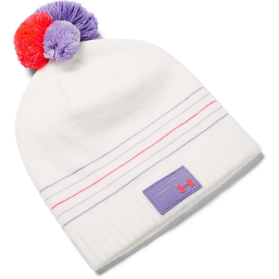 Under Armour Girls Triple Scoop Beanie Onyx White - OSFA