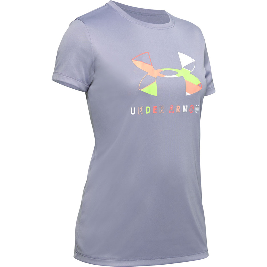 Under Armour Tech Graphic Big Logo SS T-Shirt Purple Dusk - YL