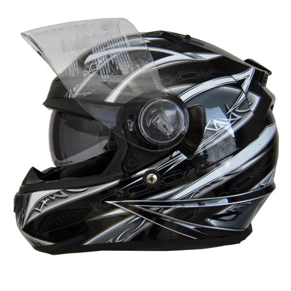 Moto helma Cyber US 100 stříbrná s grafikou - XL (61-62)
