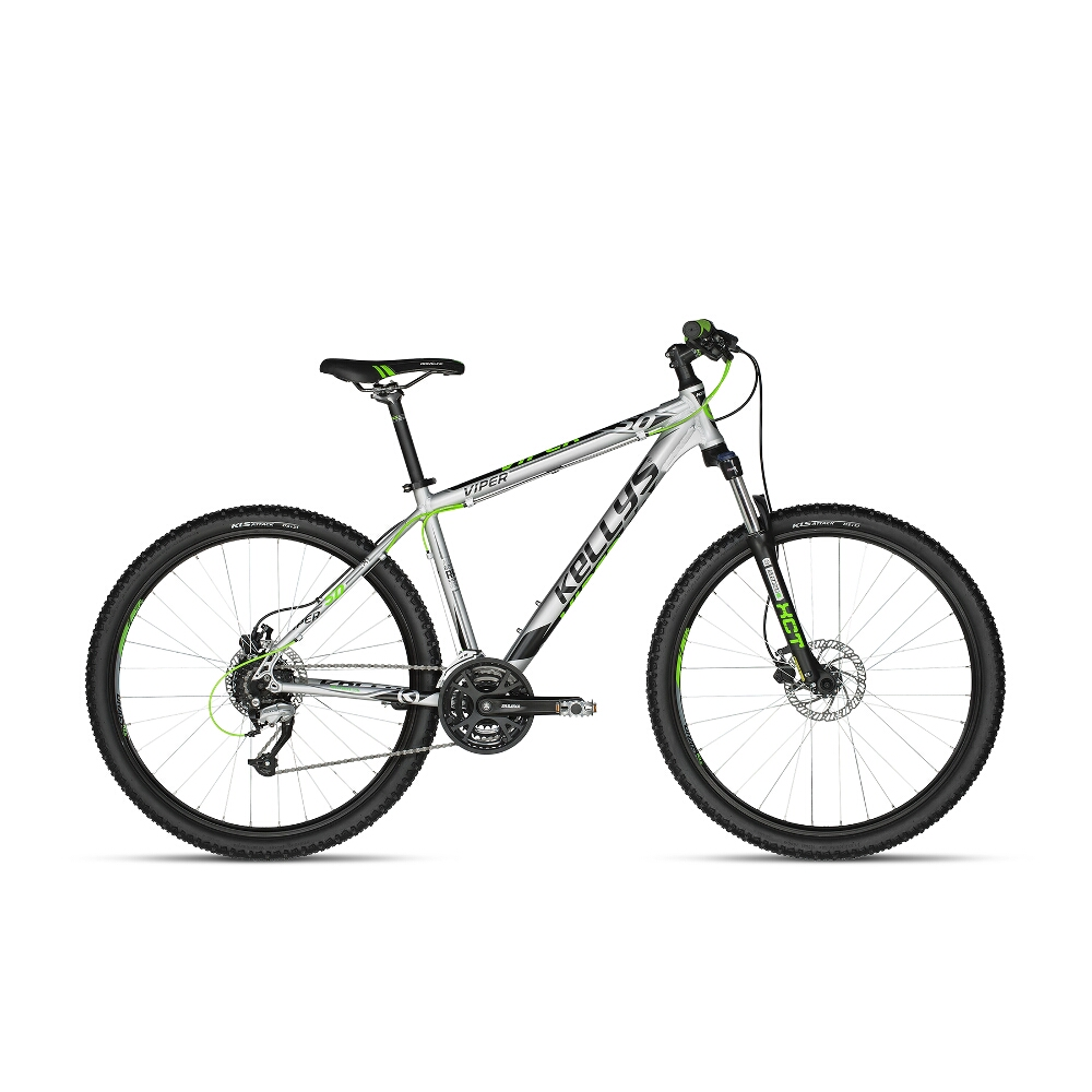 "Horské kolo KELLYS VIPER 50 27,5"" - model 2018 Silver-Green Neon - 15,5"" - Záruka 10 let"