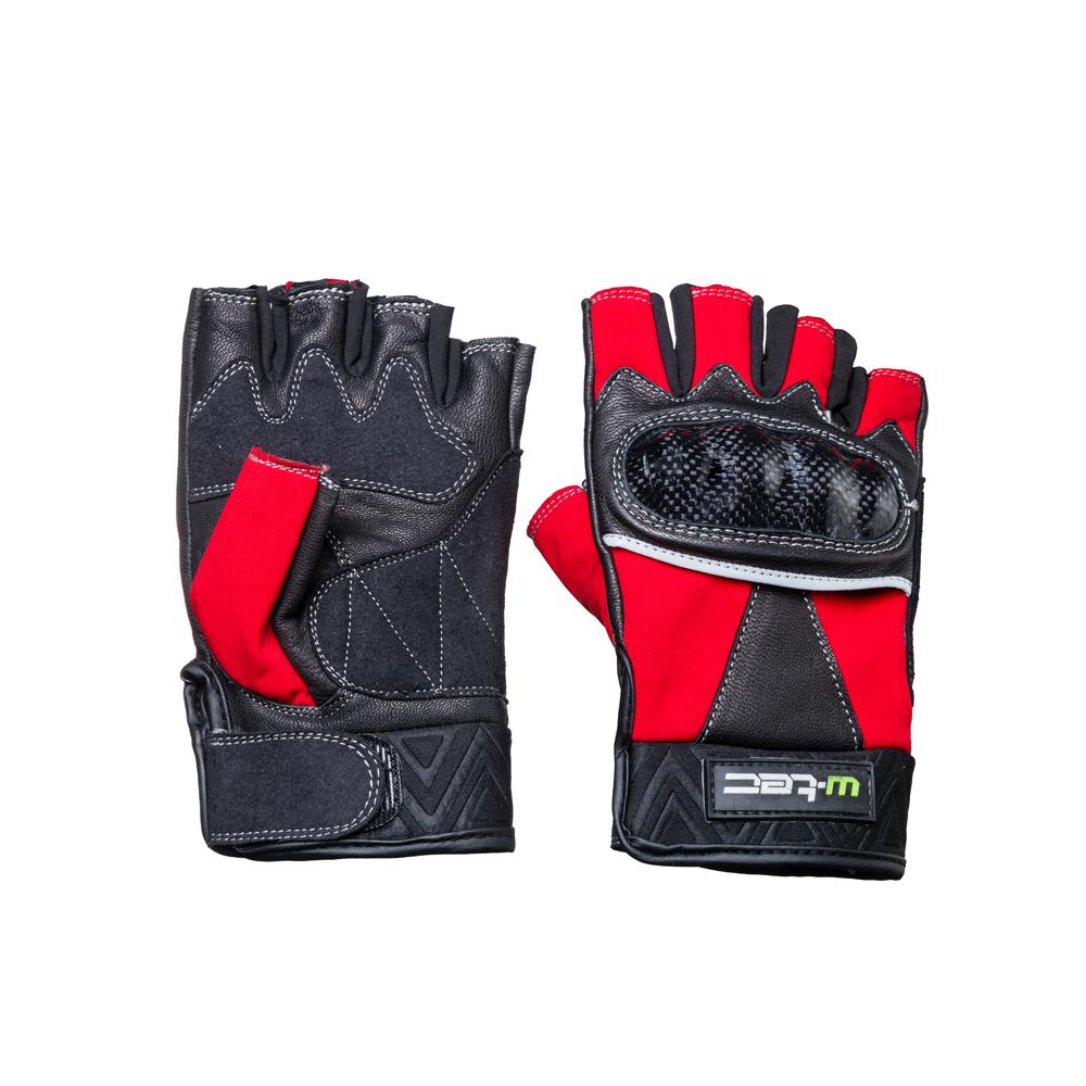Kožené bezprsté moto rukavice W-TEC Reubal NF-4190 černo-červená - S