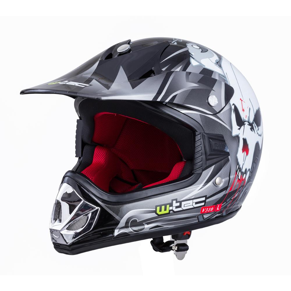 Dětská moto přilba W-TEC V310 Black Skull - S (49-50)
