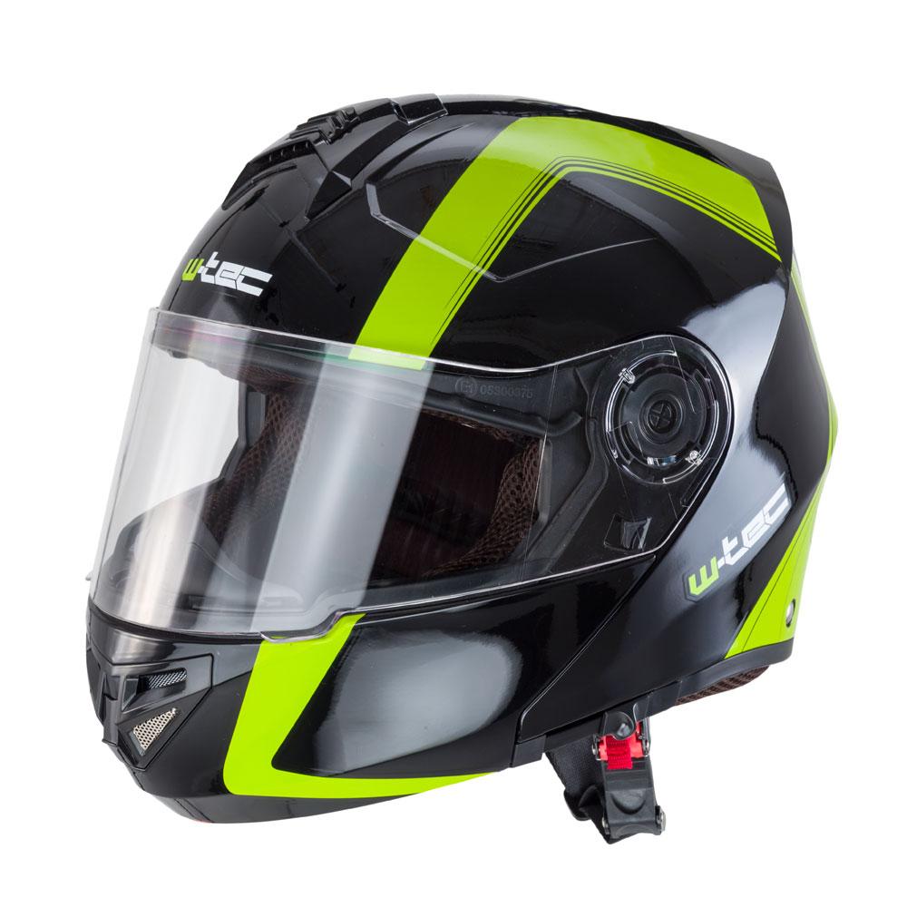Výklopná moto helma W-TEC V270 černo-zelená - M (57-58)