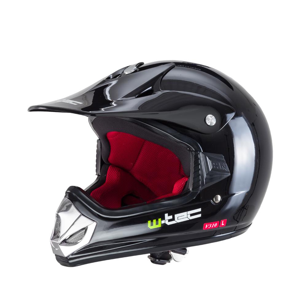 Dětská moto přilba W-TEC V310 Pure Black - S (49-50)