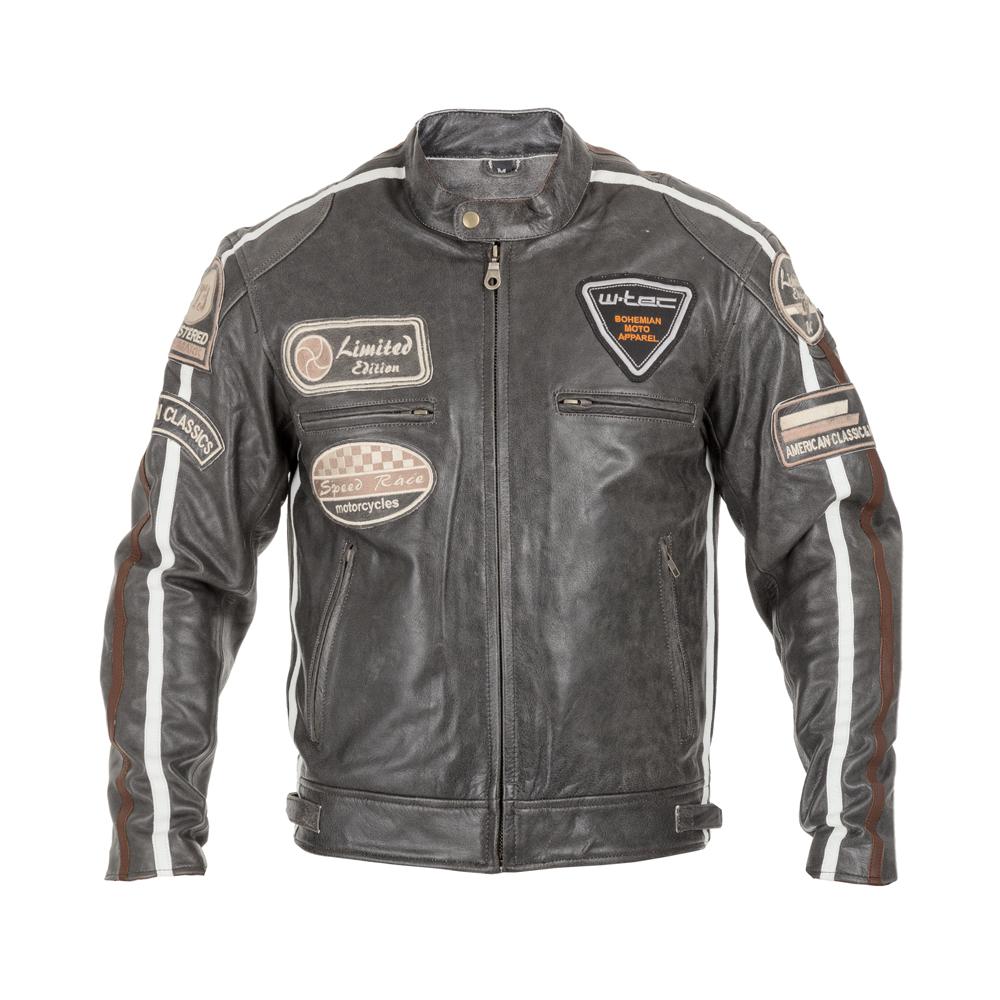 Pánská kožená moto bunda W-TEC Antique Cracker hnědo-šedá - XXL