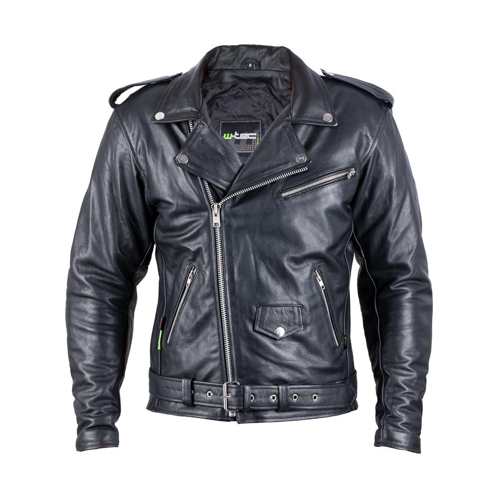 Kožená moto bunda W-TEC Perfectis černá - M