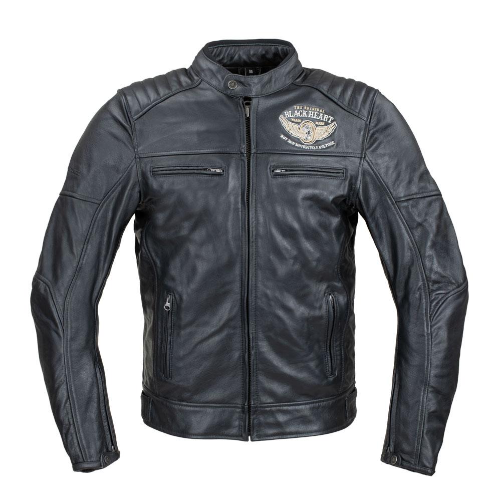 Pánská kožená bunda W-TEC Black Heart Wings Leather Jacket černá - S
