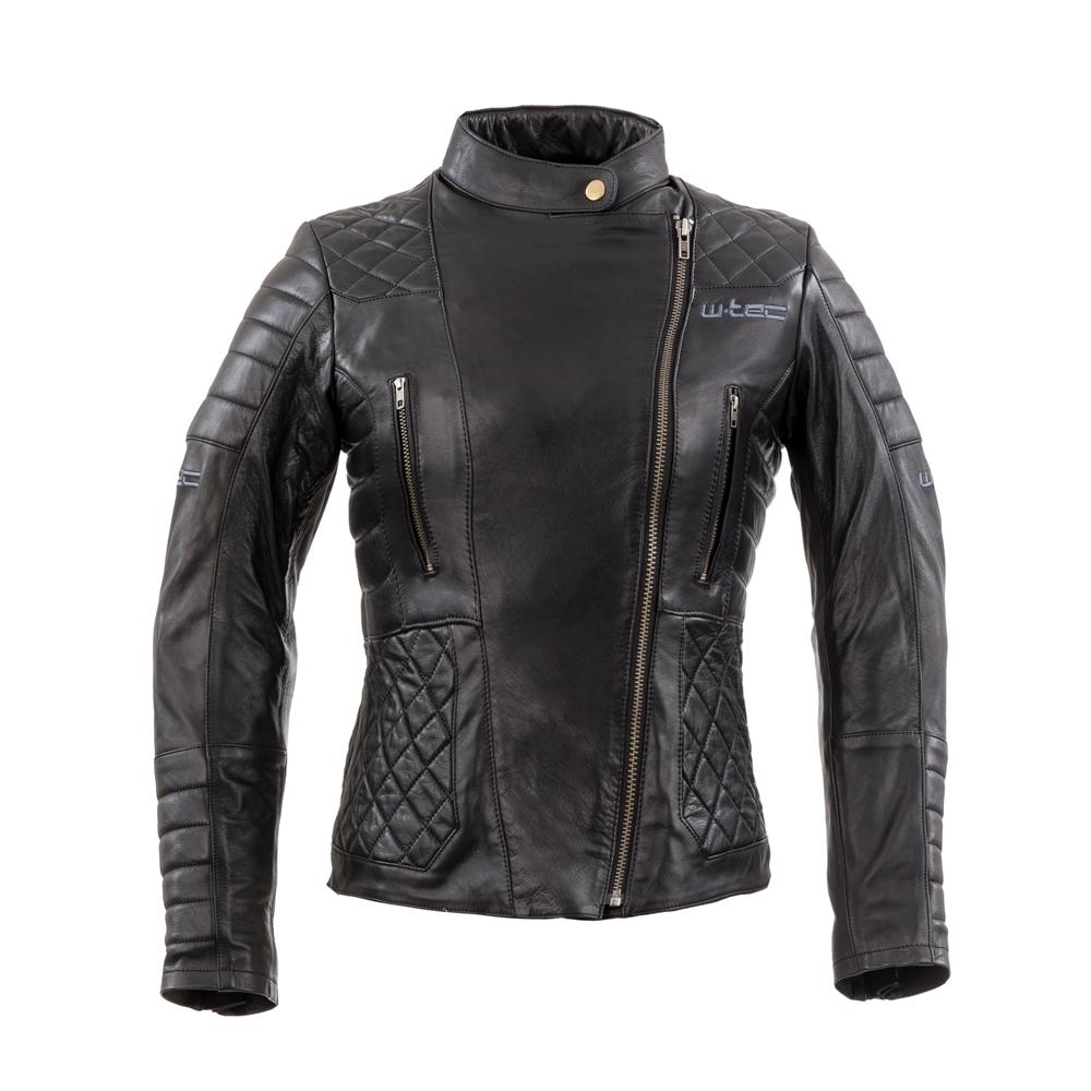 Dámská kožená moto bunda W-TEC Corallia Black - XS