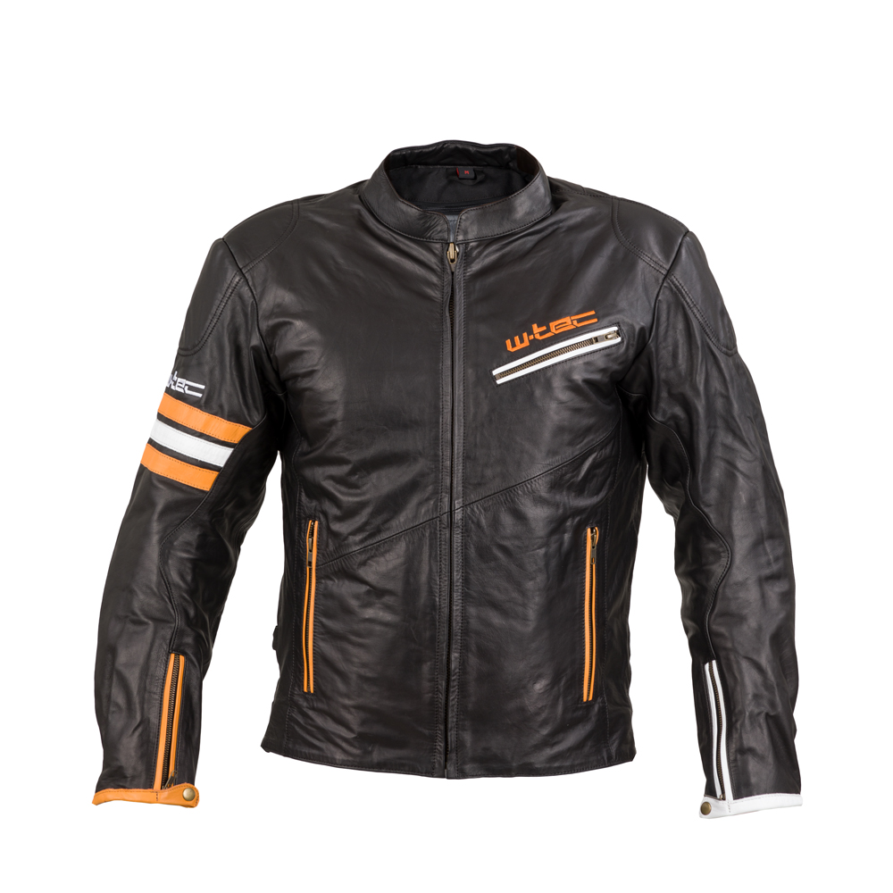 Kožená moto bunda W-TEC Brenerro Black-Orange-White - 5XL
