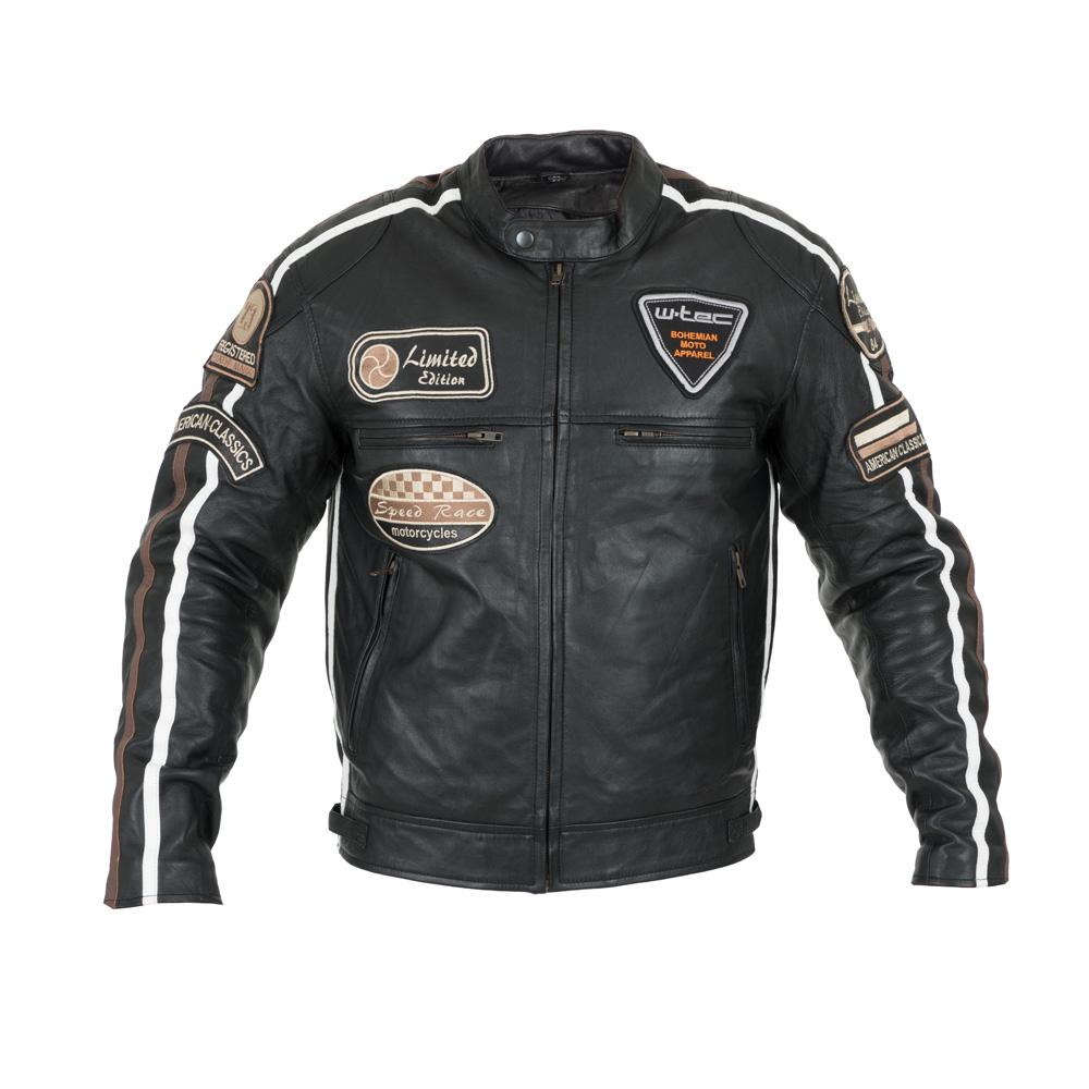 Pánská kožená moto bunda W-TEC Sheawen černá - 3XL