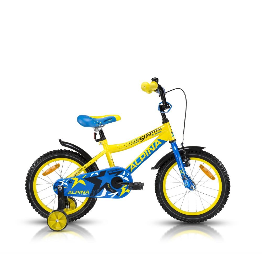 """Dětské kolo ALPINA Starter 16"""" - model 2016 žlutá - 235 mm (9,5"""")"""