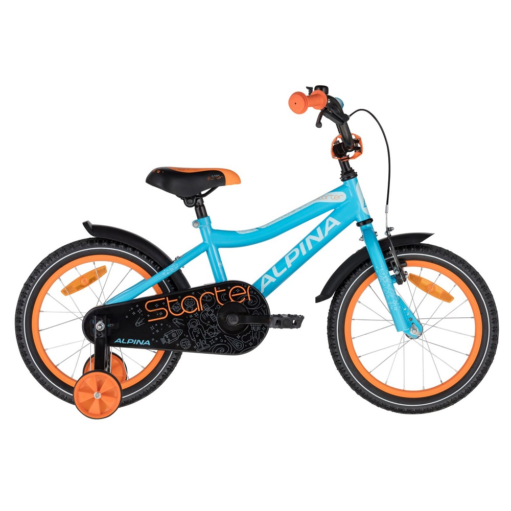 """Dětské kolo ALPINA Starter 16"""" - model 2021 Blue Orange - 235 mm"""