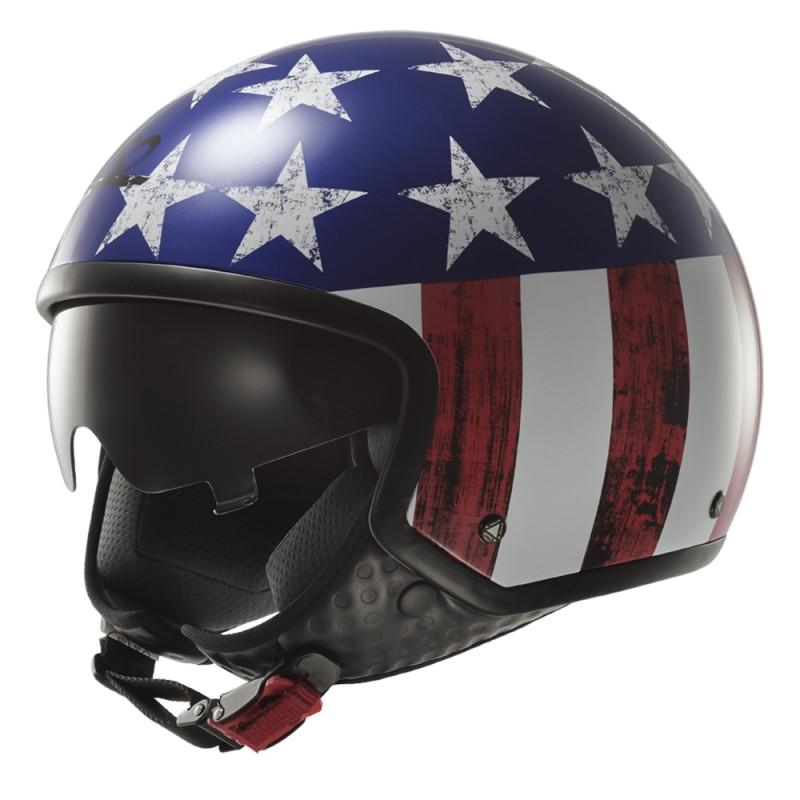 Moto přilba LS2 Wave Raw modro-červeno-bílá - S (55-56)