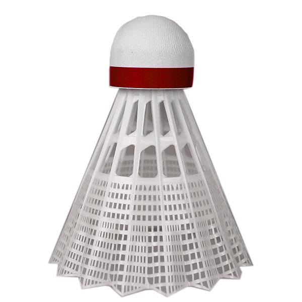 Badmintonové míče Yonex Mavis 600 bílý míček - červený pruh