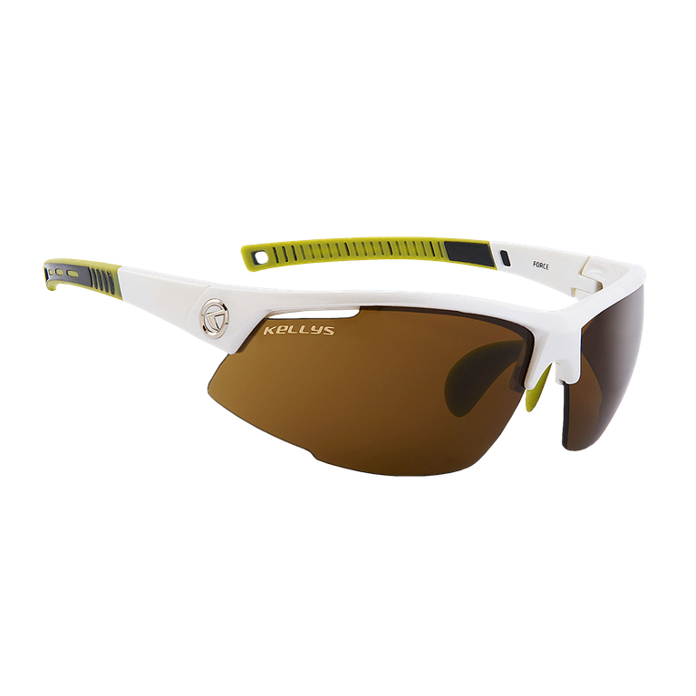 Cyklistické brýle KELLYS Force Shiny White, bílo-limetková s hnědými skly
