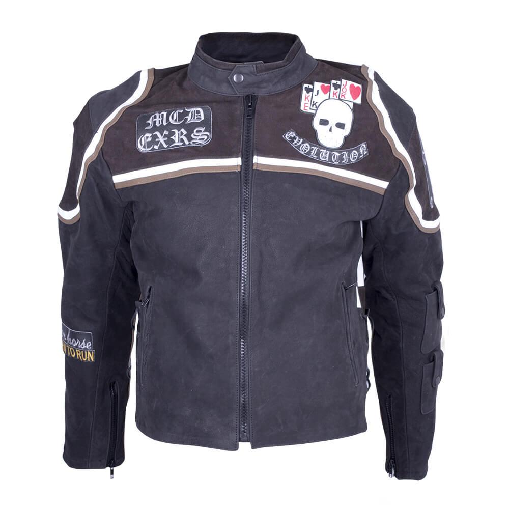 Kožená moto bunda Sodager Micky Rourke černá s grafikou - M