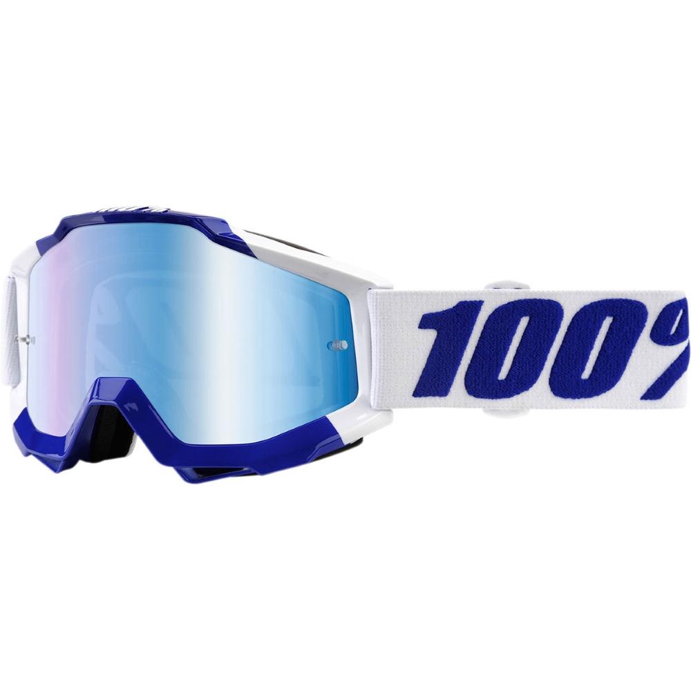 Motokrosové brýle 100% Accuri Calgary bílo-modrá, modré chrom plexi + čiré plexi s čepy pro sl
